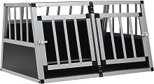 Dog Cage with Double Door 89x69x50 cm - Silver -
