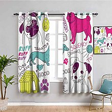 Dog Lover Decor Collection Room Darkened Curtain