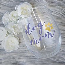 Dog Mom Crystal Stemless Wine Glass,Engraved