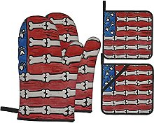 Dog Paws and Bones American Flag Rubber Printed
