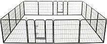 Dog Playpen 16 Panels Steel 80x80 cm Black - Hommoo
