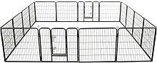 Dog Playpen Steel Black 80x80 cm 16 Panels - Black