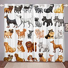 Dog Printed Curtain Cute Pet Dogs Window