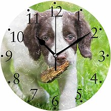 Dog Puppy Grass Wall Clocks Battery Operated Home