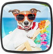 Dog Relaxing On Fancy Red ChairCrystal Glass Knobs