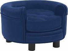 Dog Sofa Blue 48x48x32 cm Plush and Faux Leather -