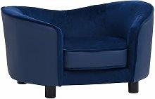 Dog Sofa Blue 69x49x40 cm Plush and Faux Leather -