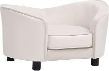 Dog Sofa Cream 69x49x40 cm Plush and Faux Leather