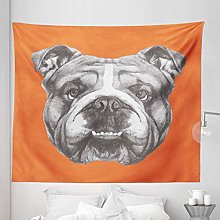 Dog Tapestry King Size, Hand Drawn Portrait of