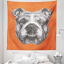 Dog Tapestry Queen Size, Hand Drawn Portrait of