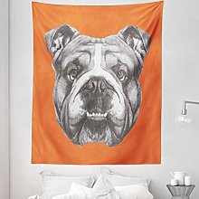 Dog Tapestry Twin Size, Hand Drawn Portrait of