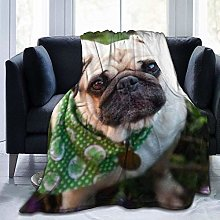 Dog with A Green Scarf Ultra-Soft Fleece Blanket