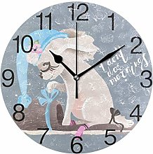 Dog with Flowers Round Wall Clock, Silent