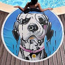 Dog With Headphone Printed Round Beach Towel Yoga