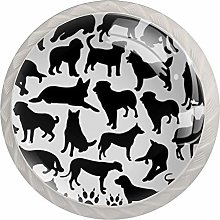 Dogs Silhouette Collage Drawer Knobs Pulls Cabinet