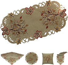 Doily Placemat Embroidered With Owl on Tree for