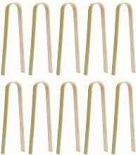 DOITOOL 10Pcs 8cm Mini Bamboo Disposable Tongs