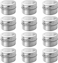 DOITOOL 12pcs Magnetic Spice Tins Stainless Steel