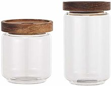 DOITOOL 2pcs Cereal Storage Container with Wooden