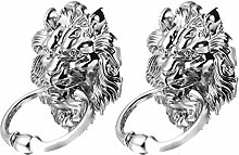 DOITOOL 2Pcs Lion Head Pull Handle Antique Silver