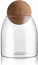 DOITOOL 500ml Glass Jar with Airtight Seal Wood