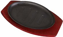DOITOOL Cast Iron Steak Plate with Wooden Base
