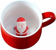 DOITOOL Ceramic Coffee Mug with Lid Santa Claus