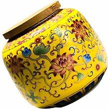 Doitool Chinese Ceramic Tea Canister Lotus Flower