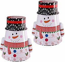 DOITOOL Christmas Snowman Cookie Tins with Lid,
