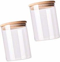 Doitool Glass Storage Jars with Sealed Wood Lids-