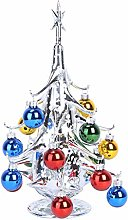 DOITOOL Miniature Glass Christmas Tree with Ball