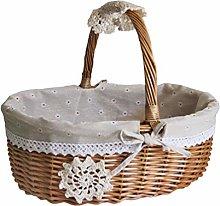 DOITOOL Wicker Basket with Handle Fruit Vegetable