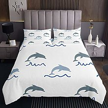 Dolphin Bedspread Cute Ocean Marine Animal Quilted