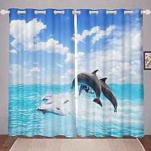 Dolphin Curtain for Bedroom Child Ocean Marined