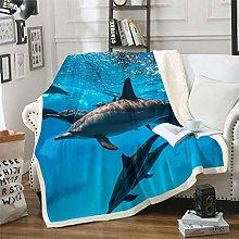 Dolphin Fleece Throw Blanket Cute Ocean Marine