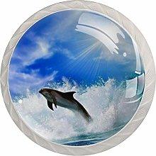Dolphin Light Blue White Drawer Handles Furniture