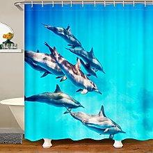 Dolphin Shower Curtain for Ocean Marine Bathroom