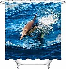 Dolphin shower curtain wear-resistant waterproof