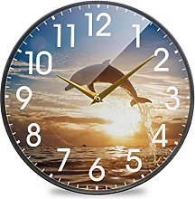 Dolphin Sunset SeaRound Wall Clock Battery