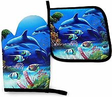 Dolphins Coral Oven Mitts and Pot Holders Kitchen