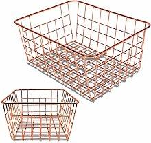 Domilay Rose Gold 2 Pack Wire Basket Set,Storage