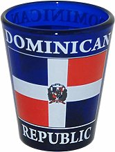 Dominican Republic Flag Cobalt Blue Shot Glass
