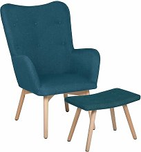 Dominik Wingback Chair and Footstool Isabelline