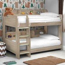 Domino Oak Wooden and Metal Kids Storage Bunk Bed