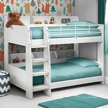 Domino White Wooden and Metal Kids Storage Bunk