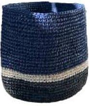Domoina - Deep Navy & Black Stripe Raffia Basket -