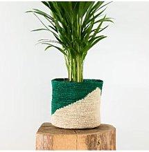 Domoina - Medium Diagonal Green & Natural Raffia
