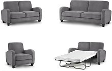 Dona 3 Seater Sofa Couch Dusk Grey Chenille Fabric