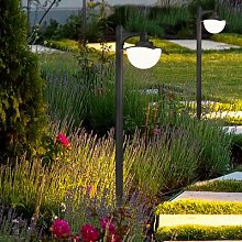 Donez path light with a glass lampshade