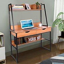 Dongfans Bookshelf Desk, Computer Desk with Hutch,